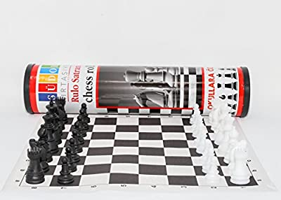 Sudor Tournament Roll Chess Set Filled Chess Pieces and Black Roll-Up Vinyl Chess Board and Carrier