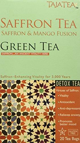 Taja Tea Saffron and Mango Detox Green Tea, 20 Bags - Saffron Tea