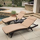 Lakeport Outdoor 3pc Adjustable Chaise Lounge Chair Set (Caramel)