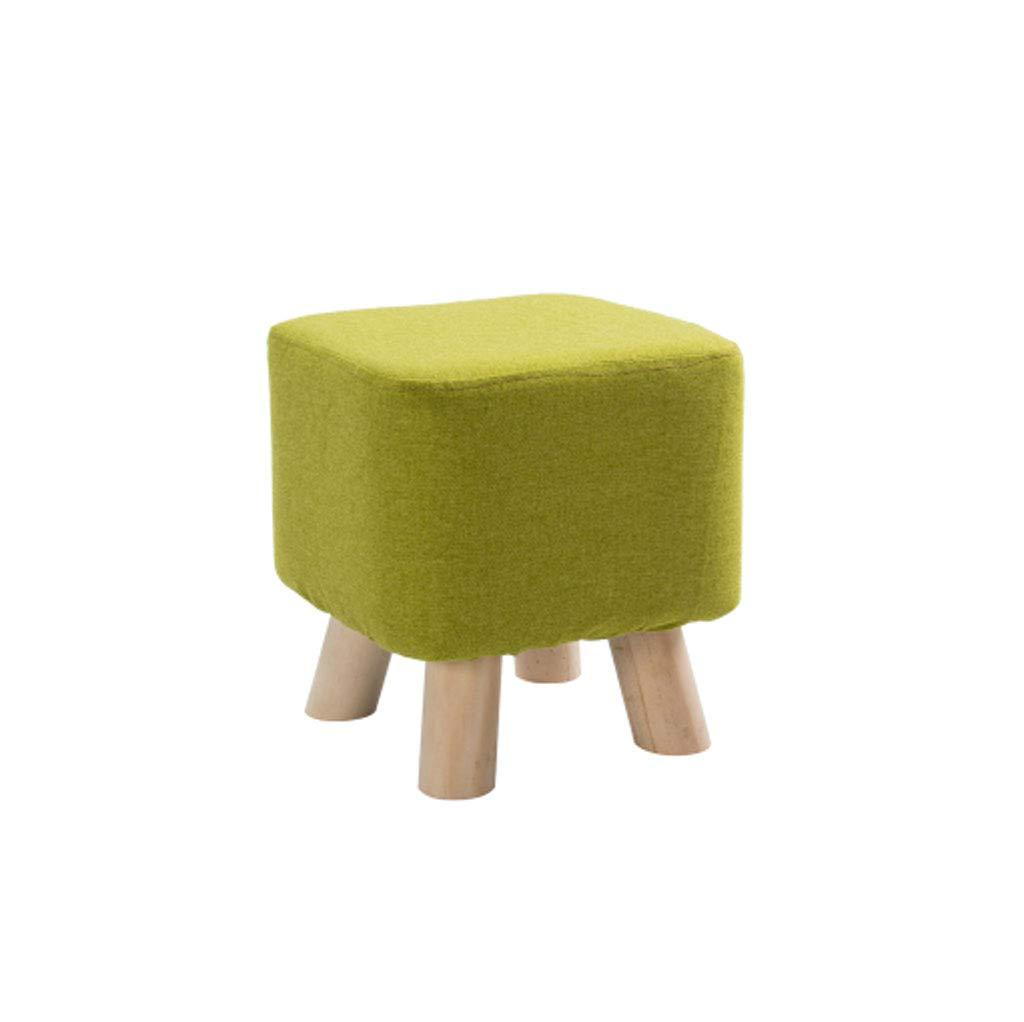 Taburete QFQ Multifuncional Zapatos de Madera Maciza Banco Sofá Zapatos Mesa de Moda Banco Mesa Zapatos de Centro Simple Tela (Color : Matcha Verde, Tamaño : 28  28cm) f7b3e8