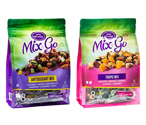 MIX & GO Variety Pack, Single Serve Trail Mix Snack Packs, Healthy Snack Bag, Fruit & Nut (8 packs antioxidant flavor and 8 packs tropic flavor, 2 oz. (Popcorn Trail Mix)