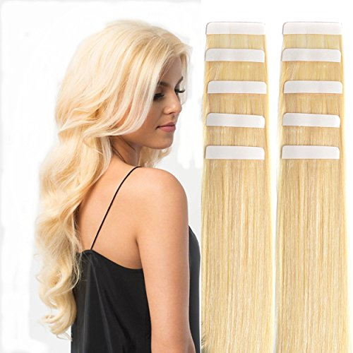 "18"" Remy Tape in Hair Extensions Human Hair 20pc 50g/pk Bleach Blonde #613 Skin Weft Glue in Hair Extension"