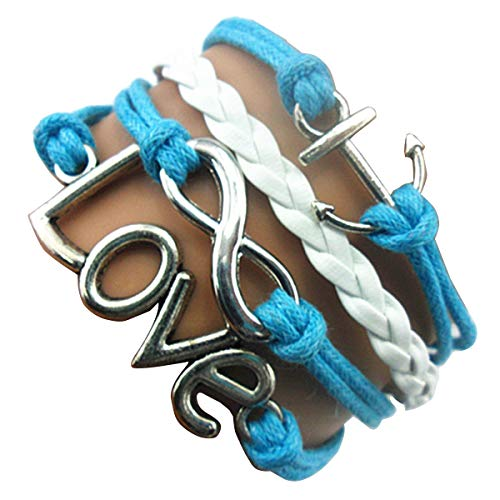 Ac Union Love Anchor Charm Friendship Gift Handmade Infinity Leather Bracelet - Blue ()