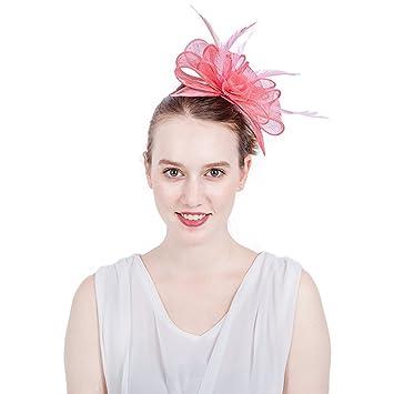 e8beecd47ad AJON Fascinator Women Hair Clip Mesh Flower Headdress Feather Headwear Horse  Racing Festival Headband Cocktail Tea