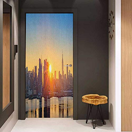 Onefzc Sticker for Door Decoration City Tranquil Sunrise at Midtown Manhattan United States NYC Waterfront America Door Mural Free Sticker W31 x H79 Pale Blue Peach Tan