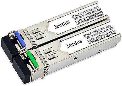 Jeirdus for Cisco GLC-BX-U80 and GLC-BX-D80 1.25G SFP Module BIDI WDM Transceiver 80KM Simplex LC DDM//DOM Support 1490//1550nm 1Pair