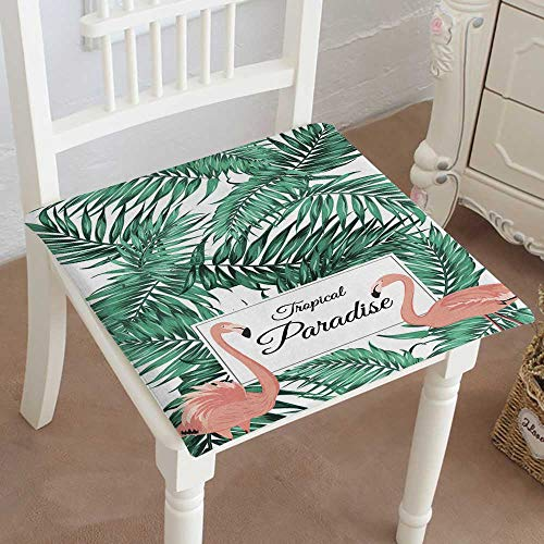 (Mikihome Chair Pads Classic Design Tropical Paradise Poster Card Template Pink Flamo Birds Green Tropical Palm Cotton Canvas Futon 14