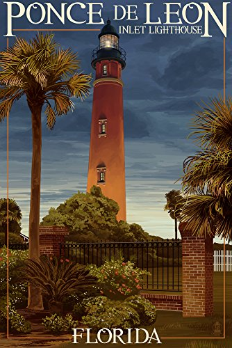 Ponce De Leon Inlet Lighthouse, Florida - Dusk Scene (9x12 Art Print, Wall Decor Travel Poster)