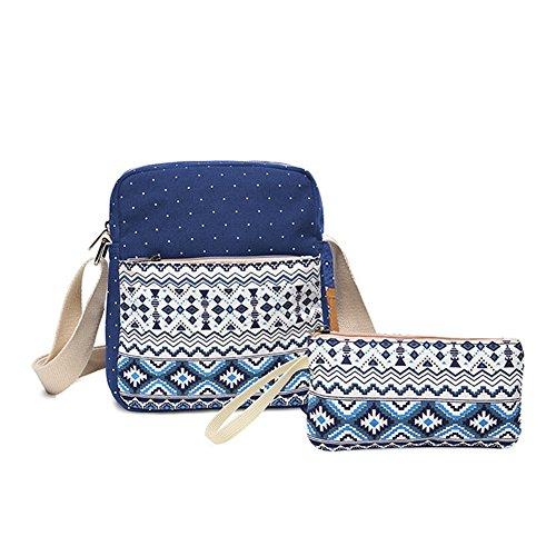 2 filles toile Impression dos Sac Set l'école Bags dos femmes à pour à VHVCX Mignon Blue Femme Mochila Sacs Noir Sacs Jeunes vRnx4f5w