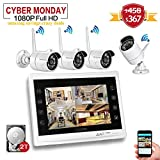 YESKAM Wireless Security Camera System 1080P 12'' LCD HD Monitor 4 Channel 2.0 Megapixel CCTV Kit Built in 2TB Surveillance Hard Drive for Home Outdoor and Indoor Video Monitoring