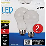 feit led bulb 100w - Feit Electric A1600/850/10KLED/2 100W Equivalent Daylight Non-Dimmable LED Light Bulb (2 Pack)