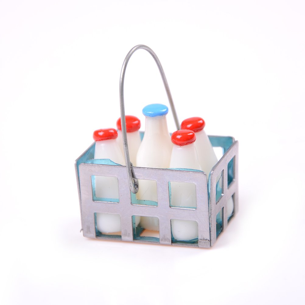 1/12 Dollhouse Furniture Mini Metal Milk Basket with 5 pcs Bottles by Sdetter The glass Heart