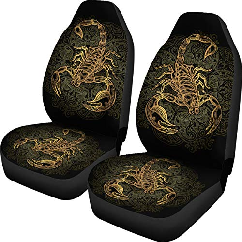 freedomlook Scorpio Car Seat Covers, Scorpio Seat Covers, Scorpio Zodiac Car Front Seat Covers (Set of 2) - Custom Car Seat Protector Scorpion Lover Front Car Cover Gift