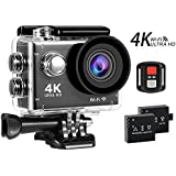 SENDOW 4K WiFi Sports Action Camera UHD 170° Wide-Angle 30M Waterproof Sport DV Camera with Remote Control, Various Shooting Mode, Loop Recording, Full Accessories Kit