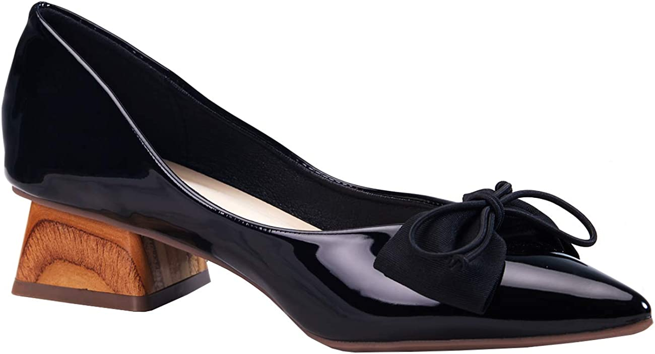 C.PARAVANO Ballet Shoes I Ballet Flats I Womens Flat Shoes I Pumps for Women I Patent Leather Shoes with Mirror Heel I Low Heel Pumps