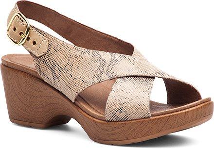 Dansko Women's Jacinda Taupe Snake Wedge Sandal, 38 EU/7.5-8 M US