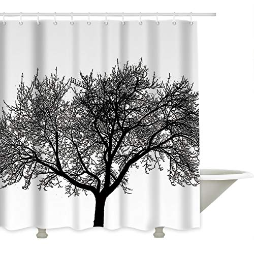 Prime Leader Durable Shower Curtain-Mocha Tree Design Black and White Waterproof Bathroom Fabric Shower Curtains,72