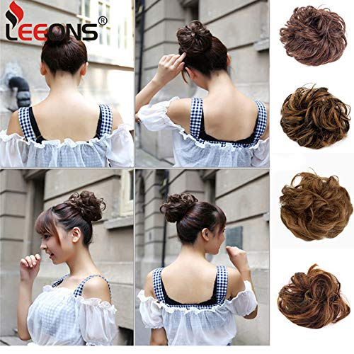 Leeons Hair Buns Scrunchy Scrunchie Bun Updo Hairpiece Hair Curly Ribbon Ponytail Extensions Diverse Colors Chignon Hair Accessories (#27h4) by LEEONS