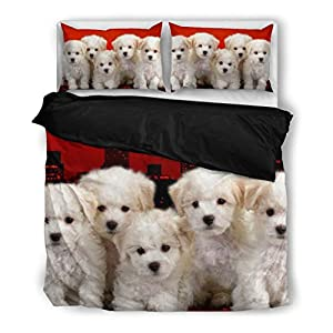 Bichon Frise Puppies Bedding Set - Dog Lovers Gifts - Custom Cover Print Design Pillow Cases & Duvet Blanket Cover - Pet Gift Ideas