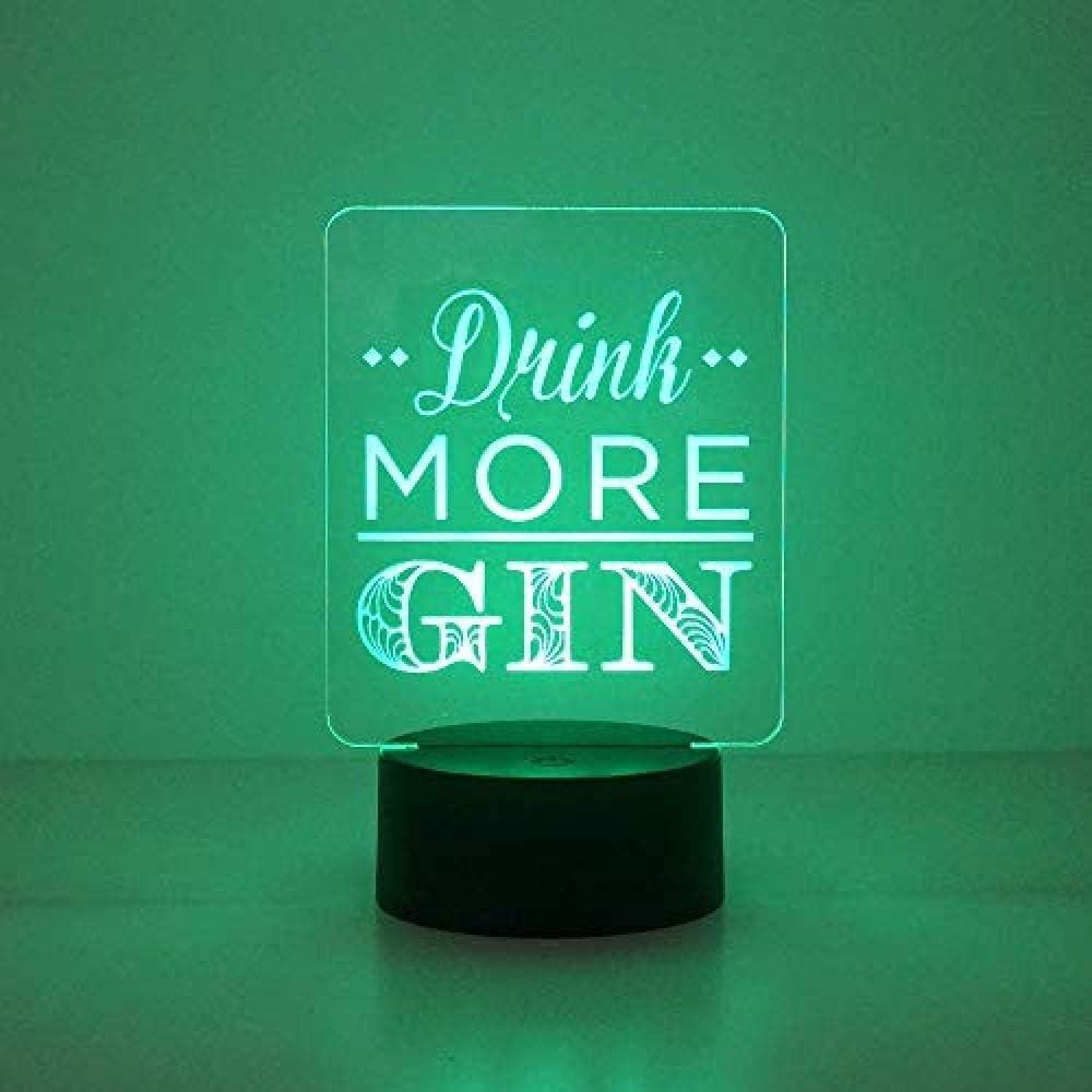Lustiges///Getr/änk mehr Gin///LED Lampe///Multi Farbe LED Namenszeichenlampe