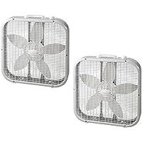Lasko 20 Energy Efficient Basic Box Fan w/3 Speeds & Easy Carry Handle (2 Pack)