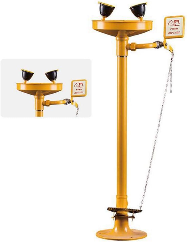 JL Montado en Pedestal Estación Lavaojos de Emergencia Boquilla Doble con Cubierta Antipolvo de Boquilla Lavado de Ojos para Limpieza de Emergencia