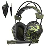 Yanni Sades SA921Plus Stereo Gaming Headset Headband Headphones with Microphone for PC/MAC/PS4/New Xbox one Gamers (Camouflage green)