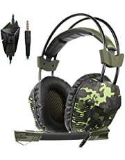 Yanni Sades SA921Plus Over Ear Stereo Gaming Headset Headband Headphones with Microphone for PC/Mac/ PS4/ Phones/Tablets Gamers(Camouflage Green)