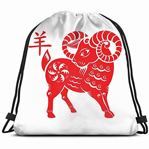 Goat Papercut 2015 Lunar Year Symbol Animals Wildlife Holidays Drawstring Backpack Gym Dance Bags For Girls Kids Bag Shoulder Travel Bags Birthday Gift For Daughter Children Women ()