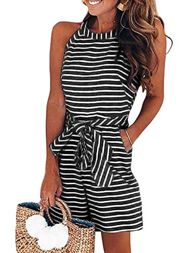 PRETTYGARDEN 2019 Women's Striped Sleeveless Waist Belted Zipper Back Wide Leg Loose Jumpsuit Romper with Pockets (A1-Black, X-Small)