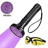 UV Flashlight - Pet Stain Urine Detector Bright 100 LEDs Blacklight Torch, with UV Sunglasses