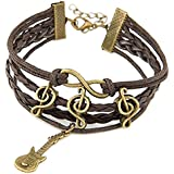 Habors Jewel Touch Brown Leather Charm Bracelet For Men & Women