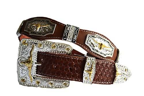 western men longhorn golden texas leather concho belt (L, Brown)
