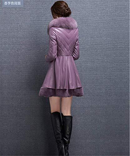 Elegantes Invierno Cuero Vintage Battercake Casuales Lila Espesar Piel Termica Mujer Slim Manga Fit Chaqueta Larga Moda Mujeres Sintética Parka Abrigos Outerwear qnAAwPxpF