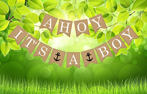 Famoby AHOY It's A BOY Anchor Banner for Baby Shower Party Decorations