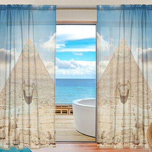 Price comparison product image Egyptian Sphinx And Pyramid Window Sheer Curtain Panels,  2 PCS 55x84 inch,  Gauze Curtain for Living Room Bedroom Home Decor