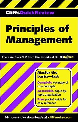 CliffsQuickReview Principles of Management 1, Ellen Benowitz