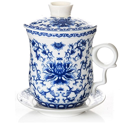 (BandTie Convenient Travel Office Loose Leaf Tea Brewing System-Chinese Jingdezhen Blue and White Porcelain Tea Cup Infuser 4-Piece Set with Tea Cup Lid and Saucer ,Blue Peony Flowers)