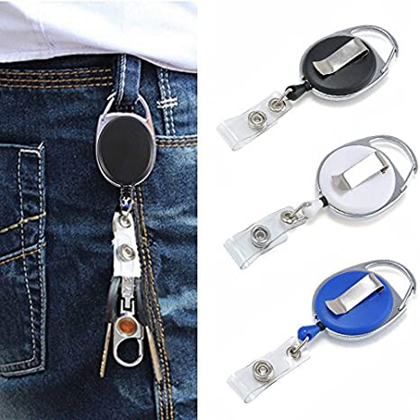 New Retractable Reel Recoil Key Card Name Tag ID Badge Lanyard Holder Belt Clip