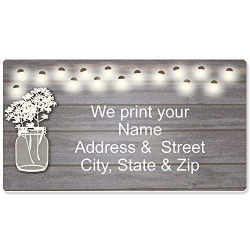 (Rustic Mason Jar Address Label - Customized Return Address Label - 90 Labels (Mason Jar))