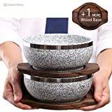 KoreArtStory - Natural Korean Stone Bowl (Set of 2 + Wood base 1 More + Bibimbap Recipe with Dolsot Bowls) / Premium Granite Hot Pot for Cooking Korea Soup and Food