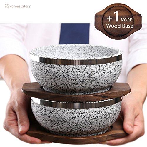 KoreArtStory - Natural Korean Stone Bowl (Set of 2 + Wood base 1 More + Bibimbap Recipe with Dolsot Bowls) / Premium Granite Hot Pot for Cooking Korea Soup and Food