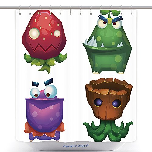 [Custom Shower Curtains Illustration Isolated Forest Monsters Set Strawberry Monster Green Skin Monster Pelican 341338247 Polyester Bathroom Shower Curtain Set With Hooks] (Do It Yourself Monster High Costume)