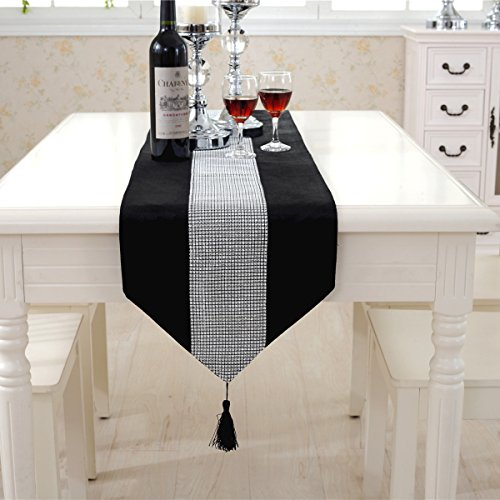 Western modern black table runners tapestry middle diamond 98 inch approx for wedding and party