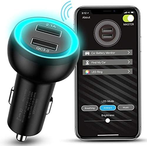 MEIDI USB Car Charger Adapter, Quick Charge 3.0 Car Phone Charger Dual Port Fast Charging with Smart APP for Battery Monitoring, GPS Positioning