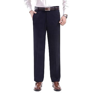 3a669492bf571 BOZEVON Pantalones Largos de Traje Masculino - Pantalones de Vestir Rectos  Formales con Bolsillo - para Personas de Mediana Edad y Mayores  Amazon.es   Ropa ...