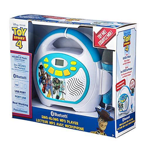 Toy Story 4 Bluetooth Sing Along Portable MP3 Player Real Working Microphone Stores Up To 16 Hours of Music with 1 GB Built In Memory USB Port To Expand Your Content Built In Rechargeable Batteries by eKids (Image #7)