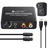 192kHz DAC Converter ESYNIC Digital to Analog Converter Volume Control Digital Coaxial Toslink to Analog Stereo L/R RCA 3.5mm Audio Adapter for Xbox DVD Blu-ray PS3 PS4 AV Amps Cinema Systems -US Plug