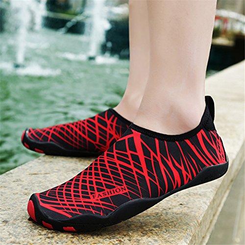 L-RUN Männer und Frauen Barfuß Mutifuntional Quick-Dry Wasser Sport Aqua Schuhe Schwarz Rot