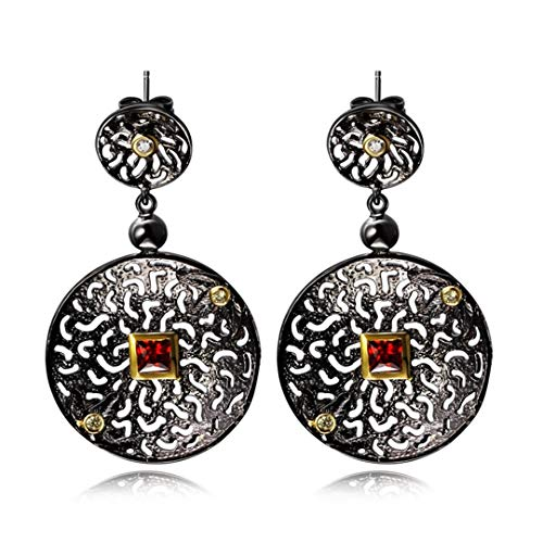 Black Gold Color Round Hollow Design Red CZ Vintage Luxury Ethnic Brincos Drop Earrings For Women ZE52820 Black Gun Plated